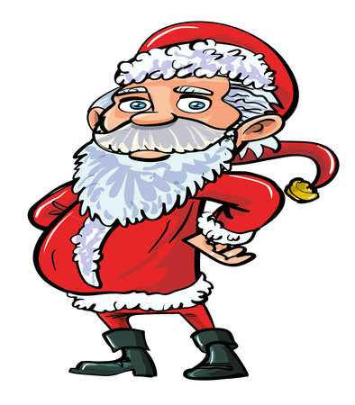 oldman: Cartoon smiling happy Santa in red. Isolated on white