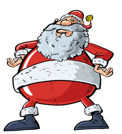 big belly: Cartoon Santa with a big belly. Isolated on white