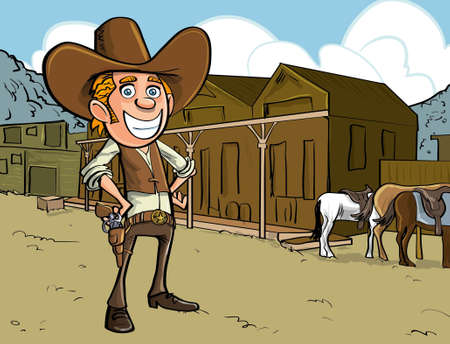 Cartoon cowboy with sixguns . Town street in the background with horses