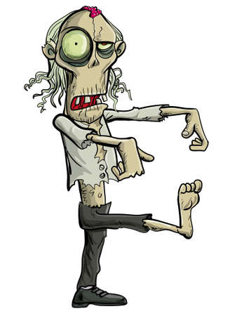 grotesque: Green cartoon businessman zombie. Isolated on white