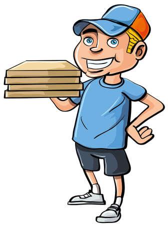 Pizza de entrega de dibujos animados muchacho. Aislados en blanco Vectores