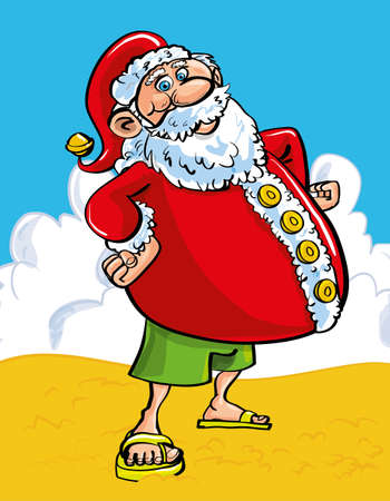 Fun Christmas greeting card of a cheerful Santa with a protruding belly at the seaside standing on a sandy beach in shorts and sandals as he enjoys his tropical summer vacation Vector