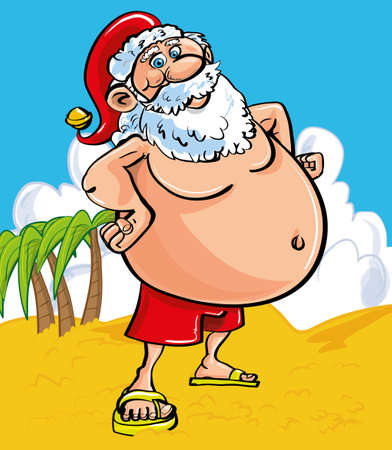 Fun Christmas greeting card of a cheerful Santa with a protruding belly at the seaside standing on a sandy beach in shorts and sandals as he enjoys his tropical summer vacation