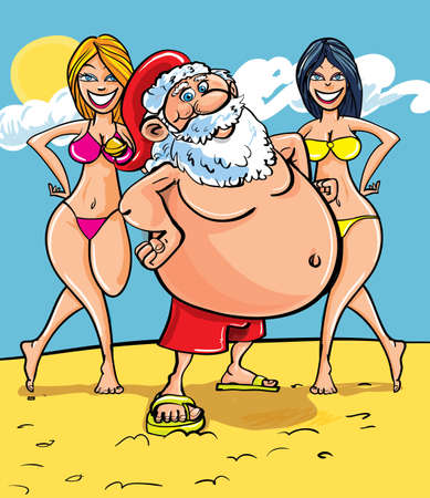 Cartoon illustration of Santa Claus standing on a sunny tropical beach flanked by two gorgeous ladies in bikinis as he enjoys a well earned vacation after Christmas Vector