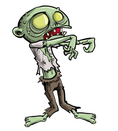 undead: Cartoon illustration of a ghoulish undead green zombie in tattered clothing with a skull-like face and cavernous glowing eyes for your Halloween feast, isolated on white Illustration