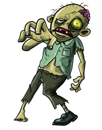 Cartoon illustration of an undead Zombie or reanimated corpse making a grabbing movement with his hand towards the camera isolated on white