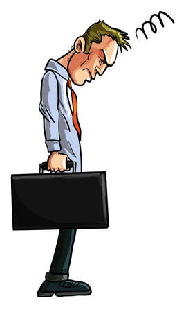 Cartoon illustration of a dejected businessman, probably suffering a hangover from the festivities over the holidays, hanging his head as he stands holding his briefcase in a Back to Work concept