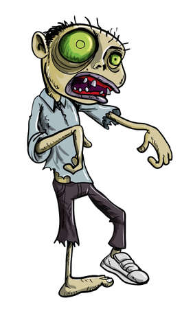 Ilustración de dibujos animados de un zombie undead verde horrible en la ropa hecha jirones con una cara de calavera y los ojos brillando cavernoso, aislado en blanco Ilustración de vector