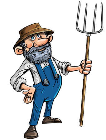Vector illustration of a cute stereotypical cartoon farmer in a hat and dungarees holding a pitchfork isolated on white Ilustracja