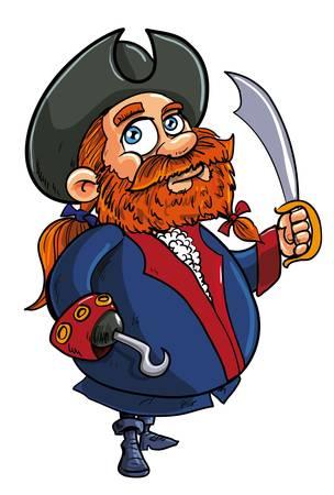 cutlass: Vector illstration de una linda pelirroja grasa barbudo capit�n pirata de dibujos animados con el gancho estereotipada de una mano y blandiendo un machete aislado en blanco Vectores