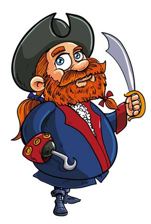 cutlass: Vector illstration of a cute fat redhead bearded cartoon pirate captain with the stereotypical hook for a hand and brandishing a cutlass isolated on white Illustration