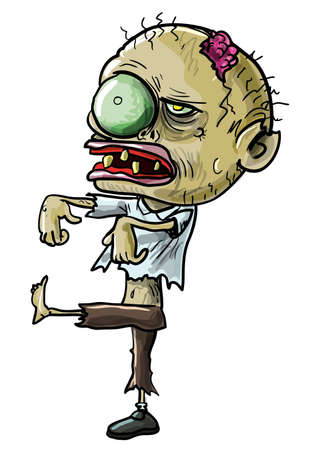 Vector illustration of a cartoon zombie with a grotesque green eye, cracked skull and ragged clothing isolated on white for your Halloween concept Illustration