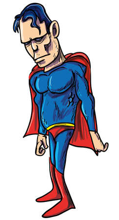 Illustration of a tough powerful superhero wearing a blue suit and red shawl Stock Vector - 17242511