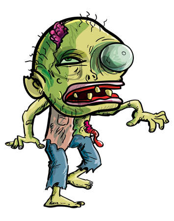 Vector illustration of a cartoon zombie with a grotesque green eye, cracked skull and ragged clothing isolated on white for your Halloween concept Vettoriali