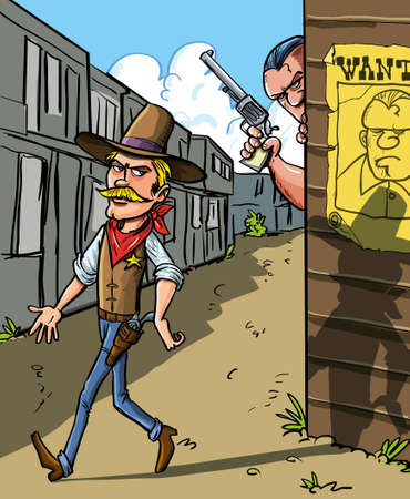gunslinger: Cartoon illustration with a Wanted notice for a cowboy with a handsome sheriff walking past watched from the doorway of a building by the gun toting outlaw himself Illustration