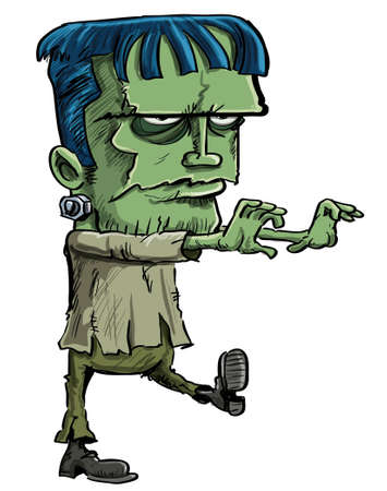 Cartoon illustration of the Frankenstein monster created by Mary Shelley in her novel where a scientist creates a monster from bodyparts taken from corpses, an evil ghoul for Halloween Stock Illustratie