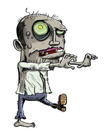 Cartoon illustration of a ghoulish undead green zombie in tattered clothing with a skull-like face and cavernous glowing eye , isolated on white