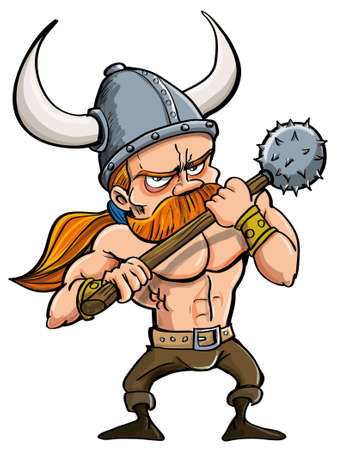 Cartoon illustration of a fierce redhead viking warrior in a horned helmet carrying a spiked isolated on white