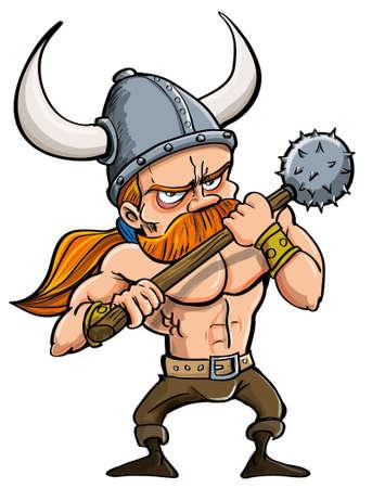 vikingo: Ilustración de dibujos animados de un guerrero pelirrojo feroz vikingo en un casco con cuernos que lleva un púas aislado en blanco
