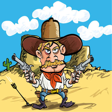Cartoon cowboy drawing his guns in the desert Vector