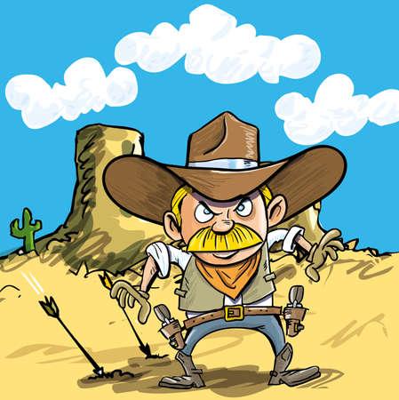 Cartoon cowboy drawing his guns in the desert Vector
