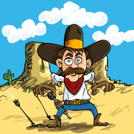 mean: Cartoon cowboy drawing his guns in the desert