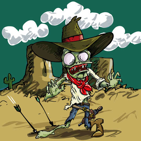 living skull: Cartoon zombie cowboy with green skin in the desert