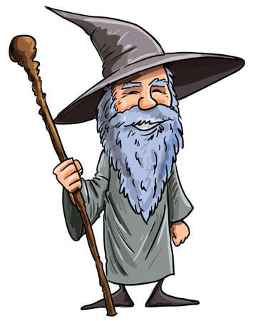 Friendly cartoon Wizard with staff. Isolated on white Stock Illustratie