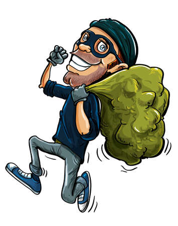 escaping: Cartoon thief running with a bag of stolen goods over his shoulder