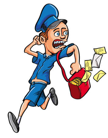 mailman: Fun cartoon illustration of a male postman in uniform running with letters flying out of his satchel and looking over his shoulder with a wide eyed expression isolated on white