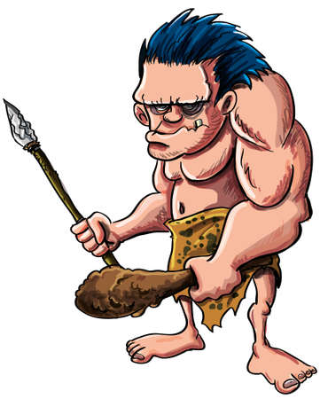 Cartoon illustration of a stooped muscular caveman or troglodyte in an animal skin loincloth brandishing a wooden cudgel and stone tipped spear isolated on white