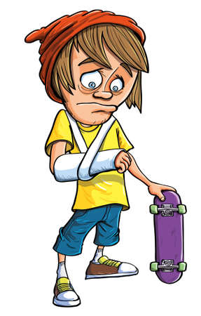 Cute young cartoon teenage skateboarder with a broken arm following a fall looking at the plaster cast with a mortified sad expression while holding his skateboard in the other hand Vector