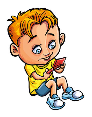engrossed: Cartoon vector illustration of a cute young boy playing video games with his gamepad or controller while sitting down isolated on white Illustration