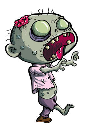 Cute green zombie cartoon isolated on white