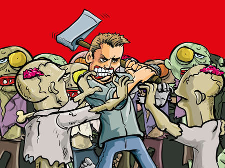 Cartoon illustration of a lone man make a last stand against a horde of evil undead zombies who are about to overwhelm him during the Apocalypse as he goes out in a blaze of glory