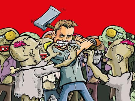 idzie: Cartoon ilustracji pojedynczego człowieka zrobić ostatni przeciwstawić hordę złych nieumarłych zombie, które są o przerastają go podczas Apokalipsy, jak idzie w blasku chwały