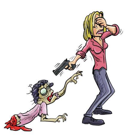 sobreviviente: Macabre imagen humor�stica de una mujer que lloraba tap�ndose los ojos y apuntando con un arma a un zombie macabro mal, una advertencia conceptual que uno no debe quedar vinculada emocionalmente. Ilustraci�n de dibujos animados aislada