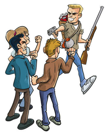 man gun: Cartoon illustration of betrayal as a group of unarmed men stand together shaking their fists in fury at an arrogant laughing traitor who is armed to the teeth with a handgun and rifle walking past
