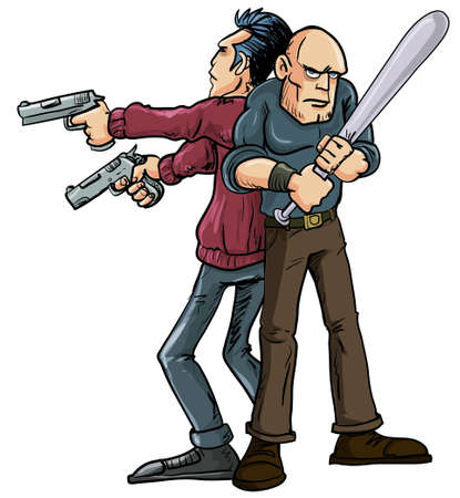 buddy: Cartoon illustration of two men operating the Buddy System standing back to back wielding their weapons in order to protect each others backs and cover danger coming from all directions
