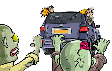 Two undead zombies pusuing a car during the Apocalypse intent on destruction with two men leaning out of the windows firing handguns at them as they stay on the move to survive