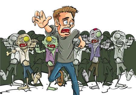 überleben: Gro�e Menge von gruseligen Untoten Zombies verfolgen einen laufenden Mann auf der Flucht f�r seine lfe, nachdem sie einen einsamen �berlebenden der Zombie-Apokalypse, Karikaturillustration finden