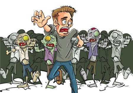 survive: Large crowd of ghoulish undead zombies pursue a running man fleeing for his lfe after they find a lone survivor of the Zombie Apocalypse, cartoon illustration