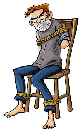 Cartoon illustration of a barefoot angry scowling young man tied to a chair with ropes around his ankles and arms isolated on white Ilustracja