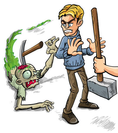 living skull: Person saying Try That Again and crashing a pick onto the skull of a gruesome zombie leaving a trail of green slime as he tries to attack a man from behind