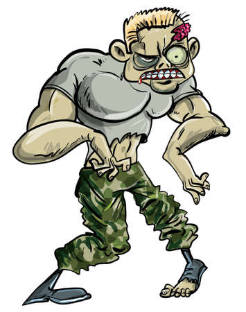 Zombie soldier with a head wound in his ragged army uniform standing facing the camera, cartoon illustration isolated on white