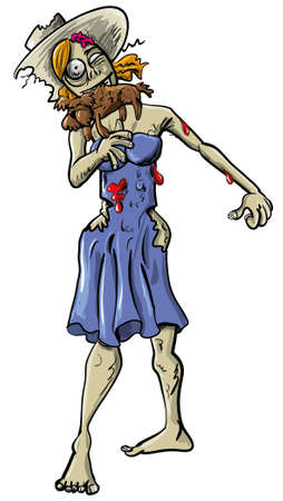 Ghoulish female zombie in blood stained tattered clothing eating a little brown dog, cartoon illustration isolated on white