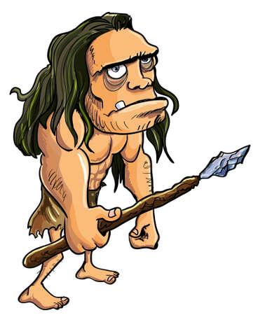 archaeological: Hombre de las cavernas de dibujos animados con una lanza aislado en blanco