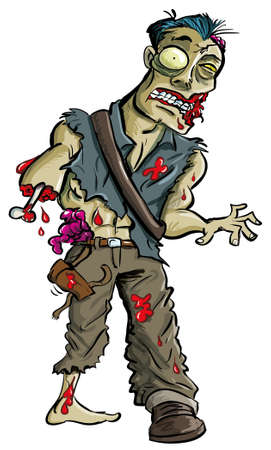 Cartoon zombie with arm eaten off, isolated on white