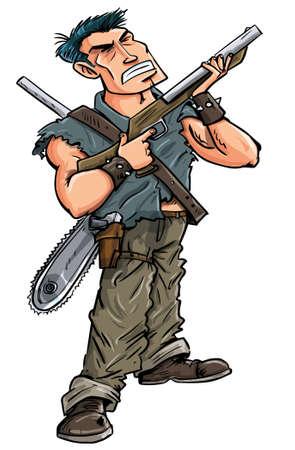 Cartoon héroe con escopeta lista para luchar contra los zombis, aislado en blanco Foto de archivo - 18940097