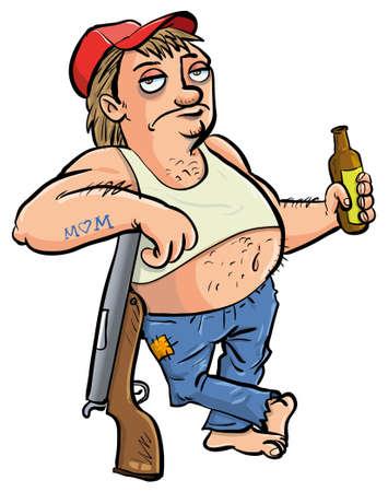estereotipo: Cuello rojo la celebración de una cerveza de dibujos animados aislado en blanco